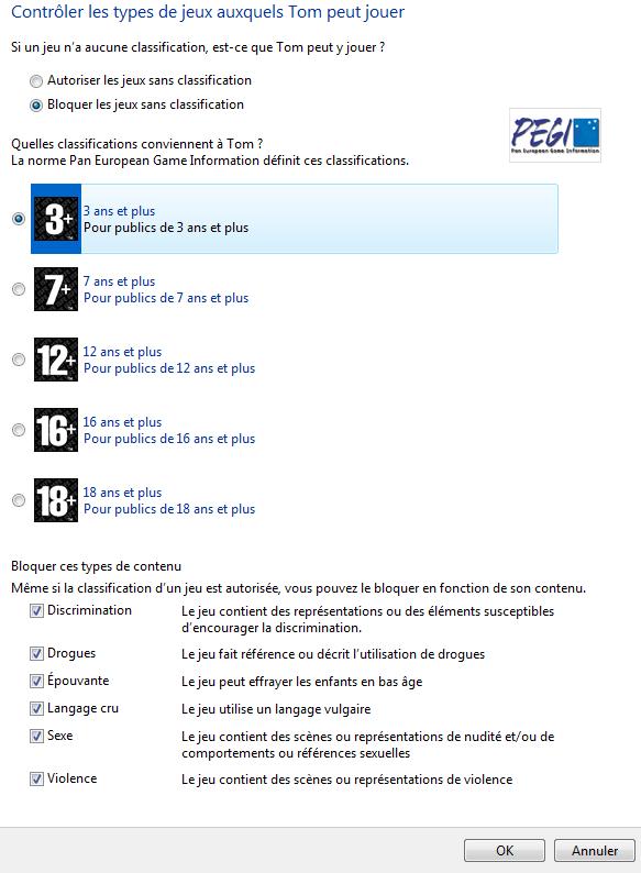 Choix du niveau des jeux autorisés avec le contrôle parental de windows