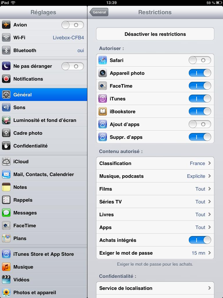 Contrôle parental sur iphone ou ipad, choix des applications