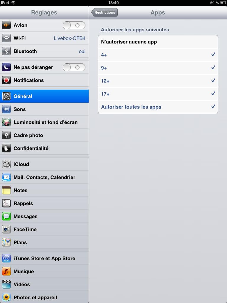 Contrôle parental sur iphone ou ipad, choix des applications selon l'âge des enfants