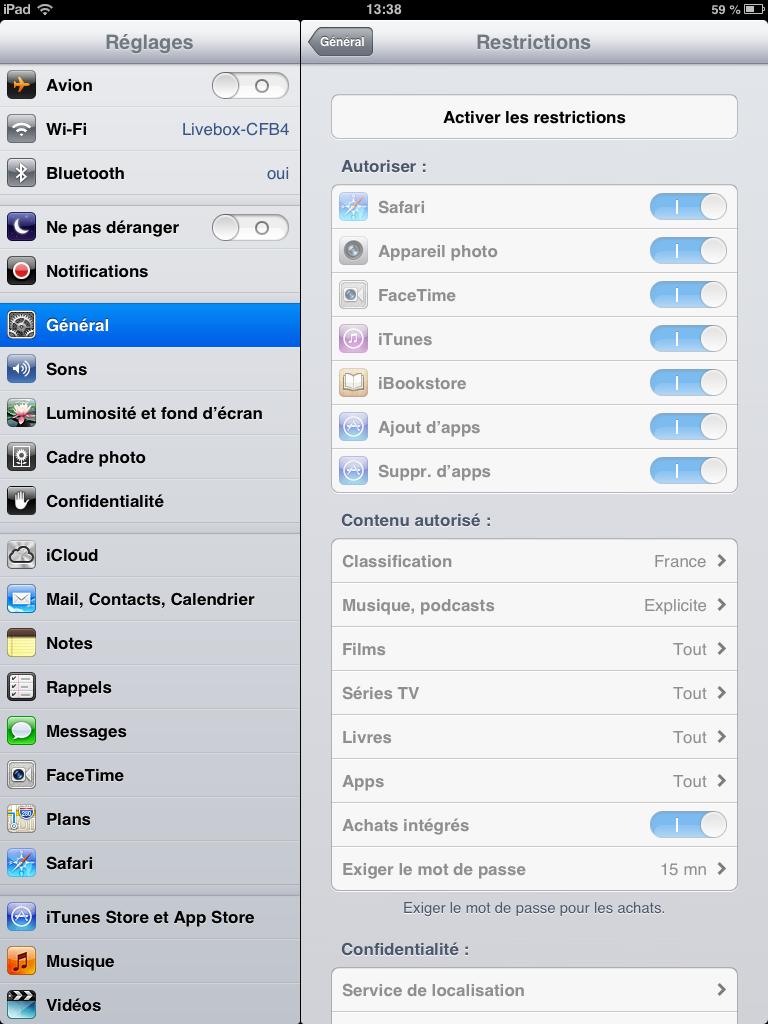Contrôle parental sur iphone ou ipad, paramétrage des restrictions