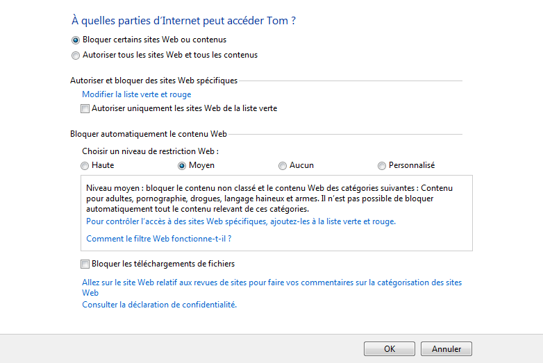 Filtrage internet du contrôle parental de windows