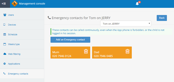 Customizable emergency numbers on Parentaround for Android