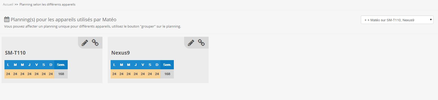 planning utilisateur