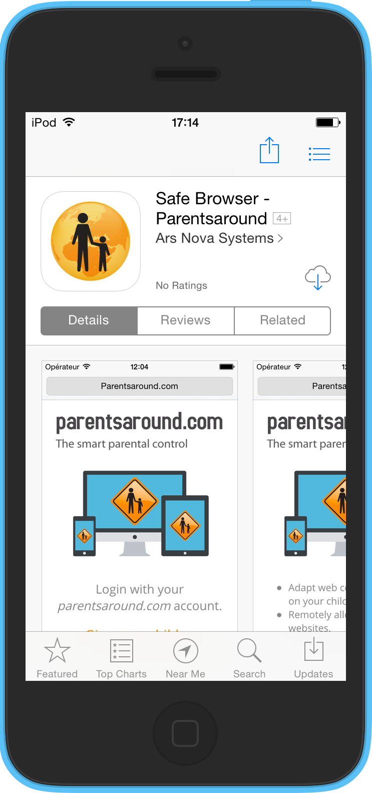 Parentsaround's safe browser on the App Store