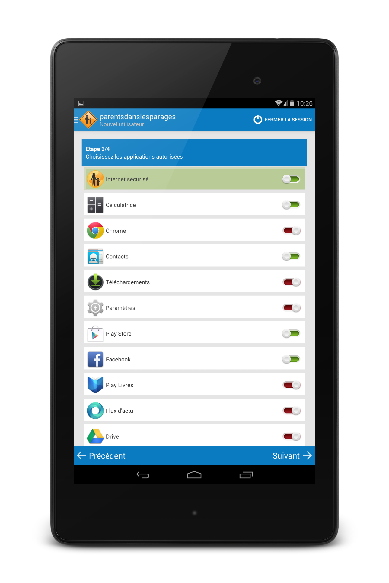 applications android autorisées
